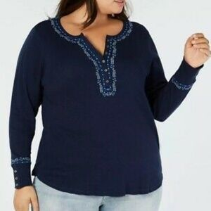 Lucky Brand Navy Blue Embroidered Henley Thermal